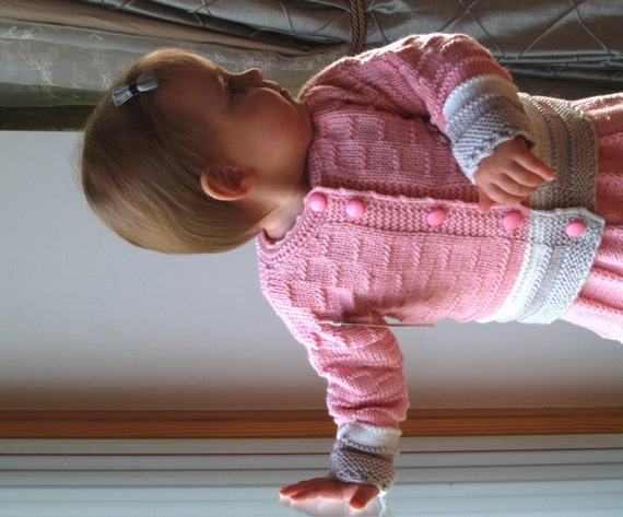 Baby girl cardigan,merino wool jacket,9-18 months,pink handmade sweater,baby girl pullover,hand knit jacket,gift for baby infant girl jacket