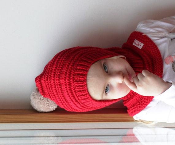 6df03a419f51 Cagoule de lutin mérinos rouge bébé   enfant fille à capuche   Etsy