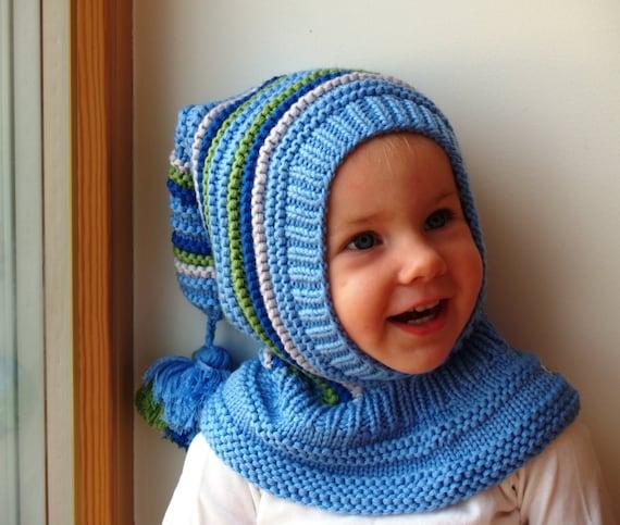 51ba0f7e05ac Chapeau de lutin bleu. Bonnet cagoule pour bébé enfant en bas   Etsy
