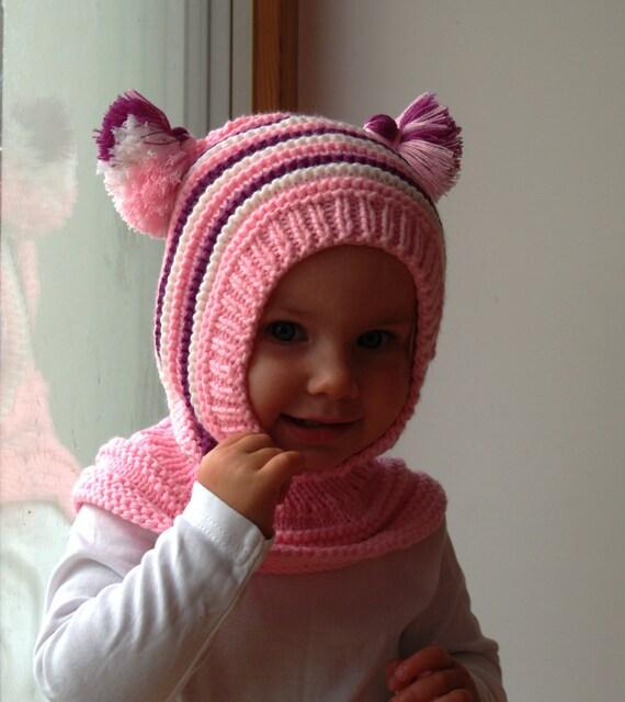 80fab0f29921 Bonnet cagoule de laine mérinos bébé   fille à capuche chapeau   Etsy