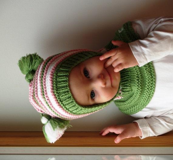 Merino Wool Balaclava Baby  Toddler Hoodie hat with Pom Poms  b223ebdb5c7