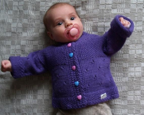 Taille 0-3-6-12-24 mois, bébé de Knit Cardigan, pull, veste en laine mérinos pour bébé, tricoté à la main, autres couleurs disponibles. FAIT SUR COMMANDE