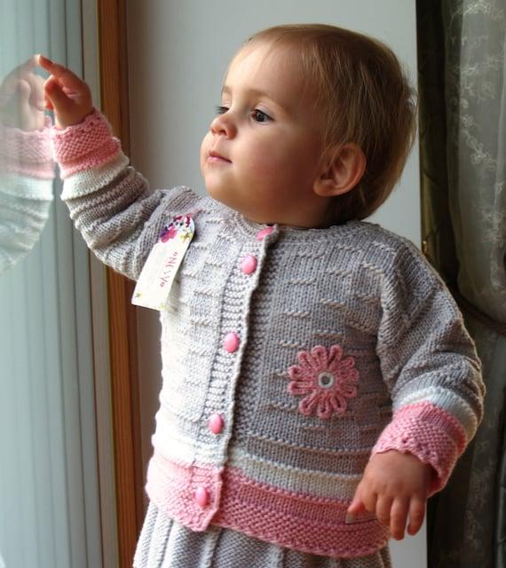 17f0b26b5 Hand Knit Sweater Baby Girl Cardigan. Light grey Merino Wool