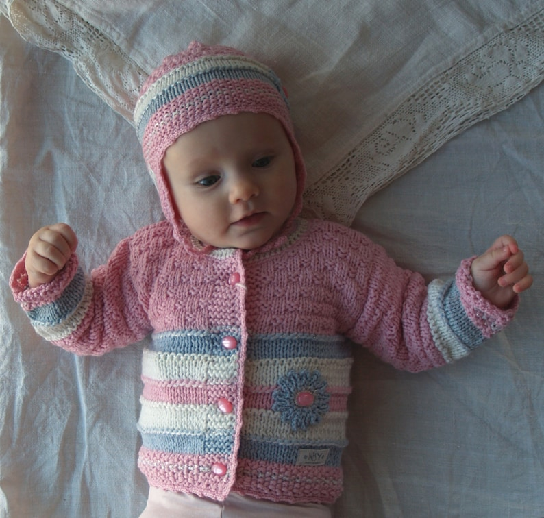 2a23b2eec READY TO SHIP 0-3 Months Knit Baby Girl Sweater and Hat set