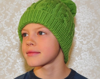 READY TO SHIP all sizes!! Hand Knit merino wool hat for kids, teens/ adults. Green Cable knit Pom pom beanie with(out) ear flap