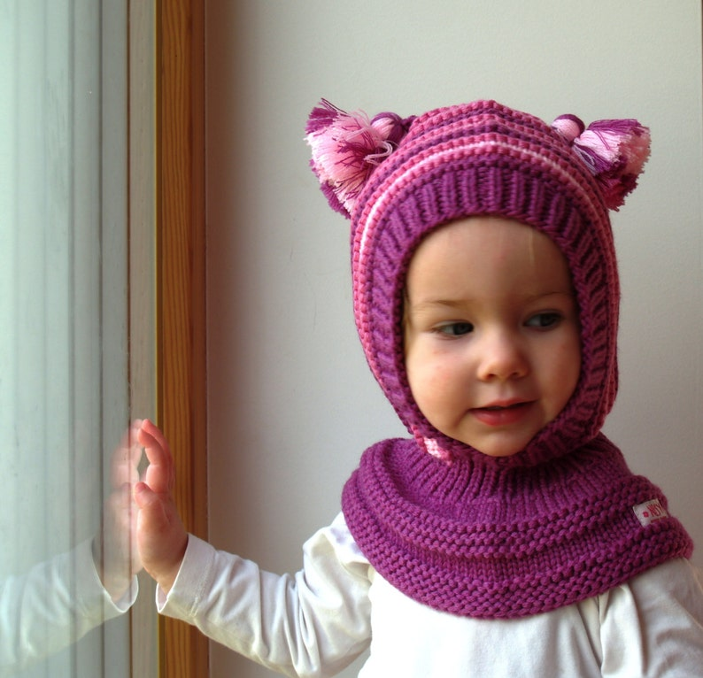 Merino Wool Balaclava Hat Baby  Children Hat with Neckwarmer and pom ... ed09b1789fb