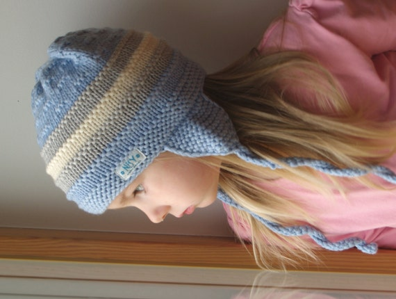 d28e696d80c Merino wool ear flap hat for baby   toddler bonnet Pilot hat