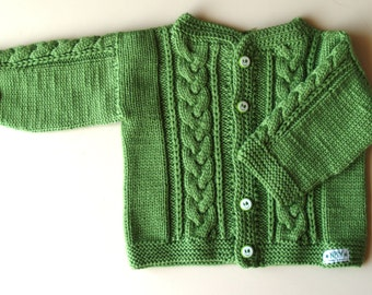 Hand Knit Sweater, Cardigan for Baby. Bright Green Merino Wool Baby Jacket with cable detail. More colors & sizes (0-24m)