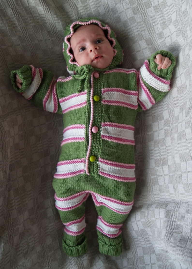 2f9d7916af3d Hand knit baby all in one piece baby knitwear bright green