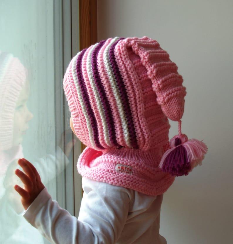 Merino gorro pasamontañas bebé   niño   Hoodie de niños hat  d9804327af3