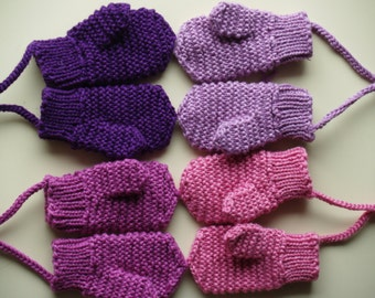 Merino Wool mittens for toddler/ children. Hand Knit Accessory for girls, Purple mittens with(out) string. More colors. Size 6-12M,1-3-6-10Y