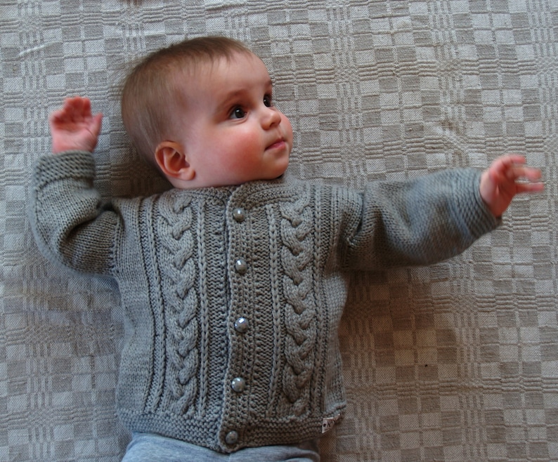 d60474d44 Hand Knit Sweater Cardigan for Baby Boy. Olive Grey Merino
