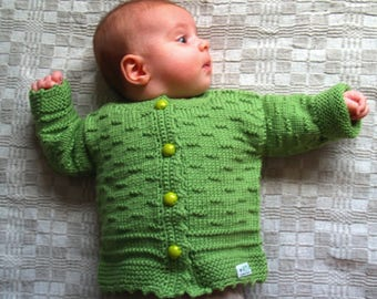 Hand Knit Sweater, Cardigan for Baby with small stripe detail. Bright Green Merino Wool Baby Jacket. More colors & sizes (0-24m)