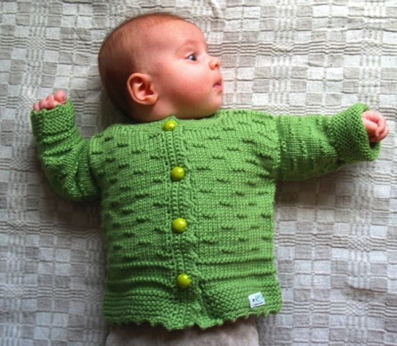 95b72b3de9ce Hand Knit Sweater Cardigan for Baby with small stripe detail.