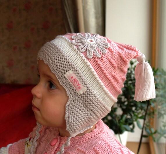 Sombrero de la aleta del oído punto de mano para el bebé    a6412d5bd41