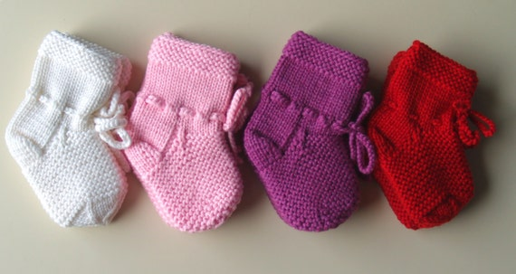 0401dc29d7f78 Pink, White, Orchid and Red Merino Wool Socks-Boots for Baby, Hand Knit  Baby Accessory, Gift for New Born Girl. Any color available.
