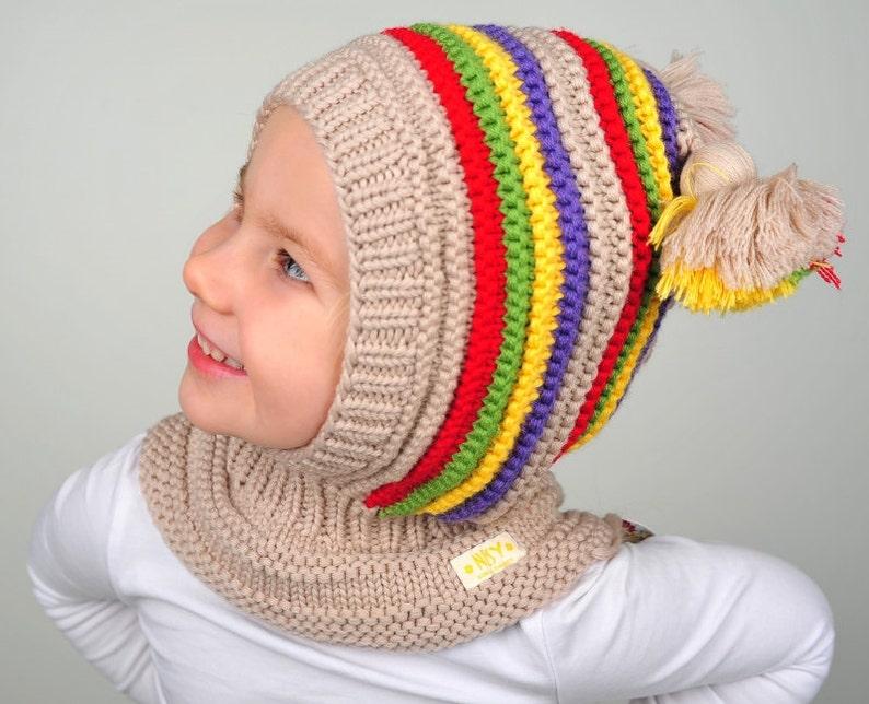 Gorro pasamontañas de lana bebé   niño con capucha con  7f5e08f6e05