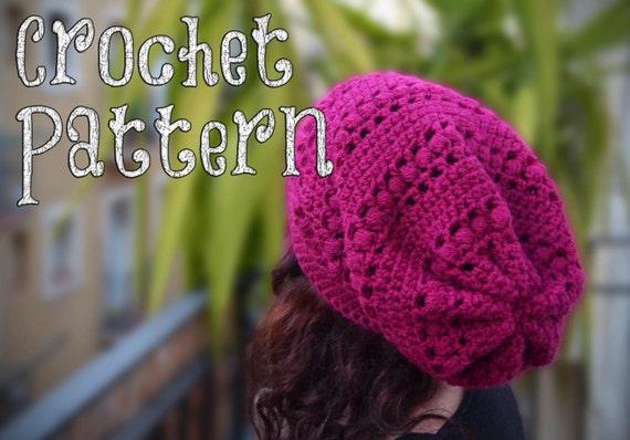 Crochet Pattern Crochet Slouchy Hat Aligned Puff Stitch Etsy