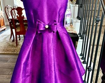 Sunday Best Flower Girl Baby Girls Short Hot Pink Shiny Satin Dress w Pink Sash,3 Tiered Layered Satin Family Photos Pageant Wedding