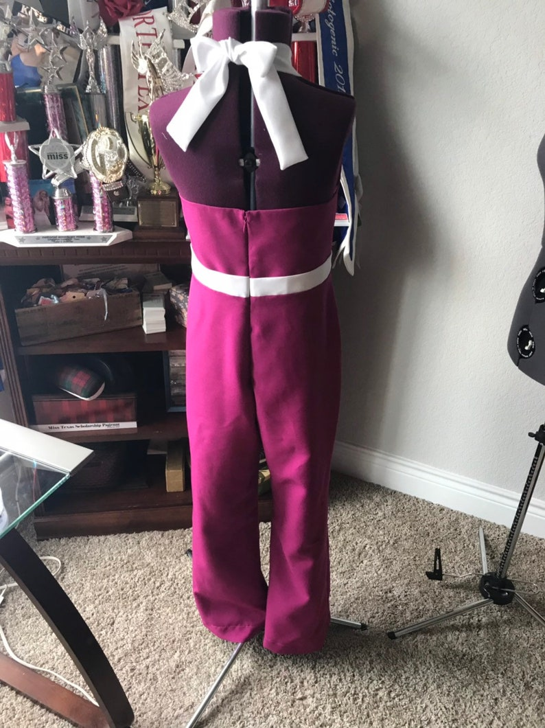 Girls Pageant  Interview Dress Jumpsuit  Size 12  Raspberry Jewel Tone Key Hole Neckline OOAK ~~ by !MakeYourMarak!