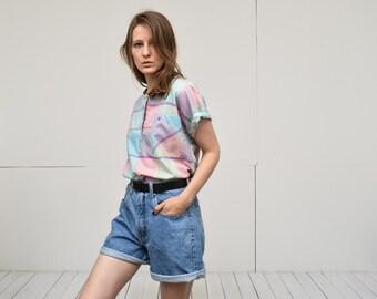 vintage medium light blue denim shorts high waist A line jean shorts Small Medium large size by Etam