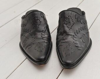 vintage black woven pointy mules western weaved block heel mules size EUR 38