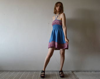 vintage blue strapless mini dress V halter tie cute embroidered hem and chest mini dress gathered elastic waist back small size
