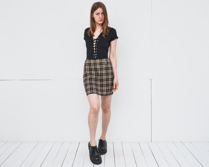 251e85e2216d Vintage Check mini skirt in brown beige high waist pencil | Etsy