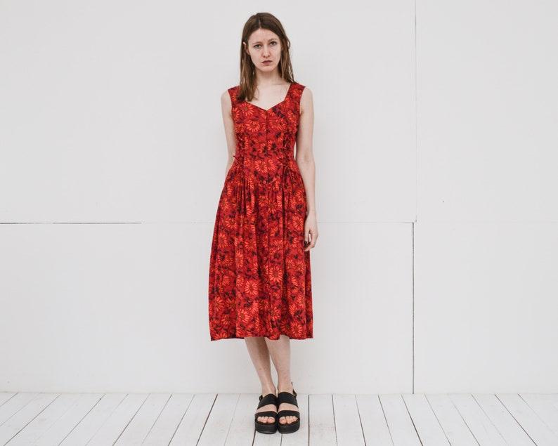 d105aced20 80s bright floral midi dress rich magenta orange front button | Etsy