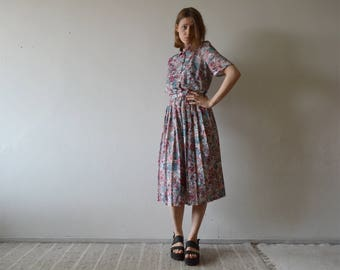 vintage botanical print midi dress front button shirt collar top pleated mid length skirt medium large size