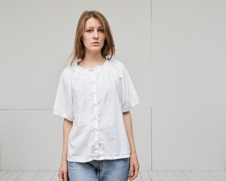 0f9b8b8c7720df Vintage white bohemian embroidered cotton blouse peasant | Etsy