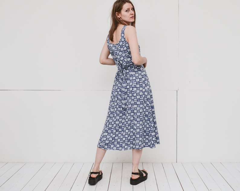 7ccebfe8eb Vintage blue white floral maxi dress front button closure