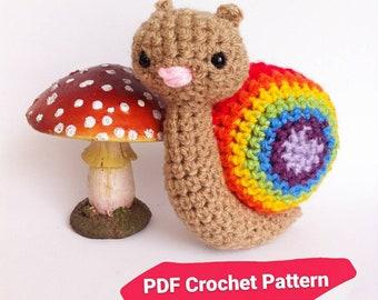 Snail crochet Pattern. DIY Rainbow amigurumi doll. Cute crochet animal pattern.
