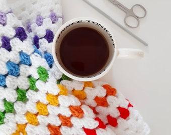 PDF crochet pattern Rainbow heirloom crochet baby blanket - new baby gift - Granny square Stripe Baby Blanket  Cot Pram rainbow baby ivf