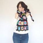 Granny Square Crochet Blanket Scarf - colourful crochet wrap - Handmade Fashion - ooak - 70's style fashion - seventies styling