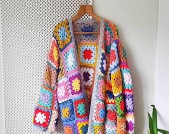 Crochet Cardigan - bright granny square sweater blazer - 70's arty hippie style
