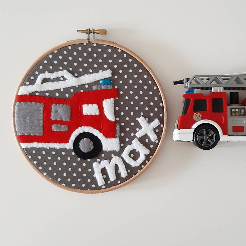 Personalised name fire engine embroidery hoop wall art  hand image 0