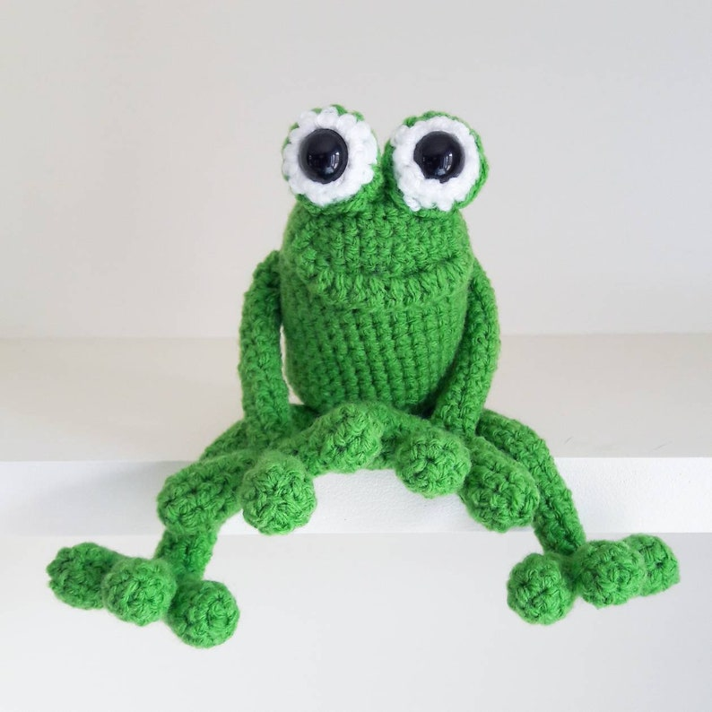 Crochet Amigurumi Frog with safety eyes  cute green frog toad image 0