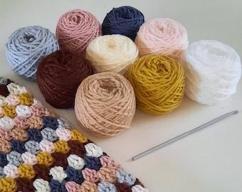Granny Stripe cosy Crochet DIY Snood Scarf Kit