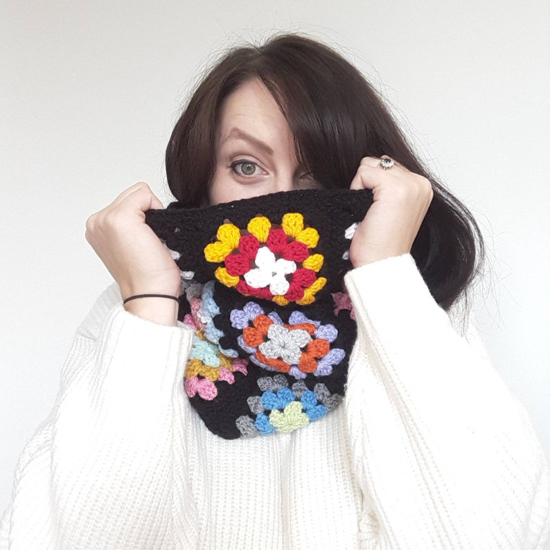 70's style Granny Square Crochet Snood Scarf  Seventies image 0