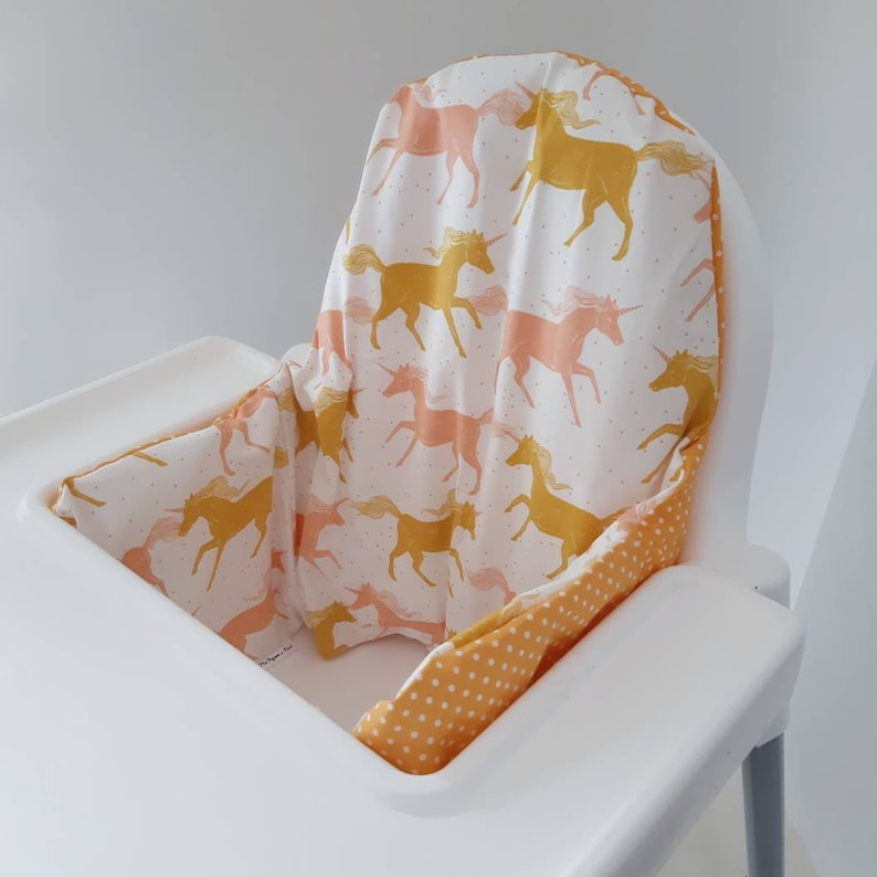 Gold peach unicorn polka dot Antilop IKEA high chair cushion image 0