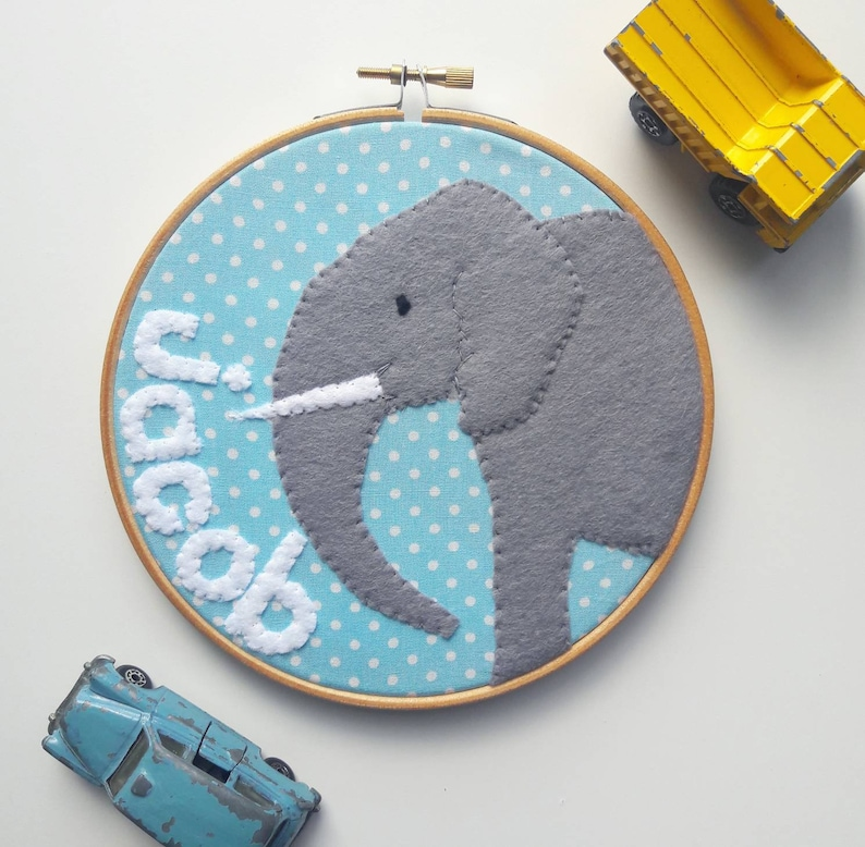 Personalised name elephant embroidery hoop wall art  hand image 0