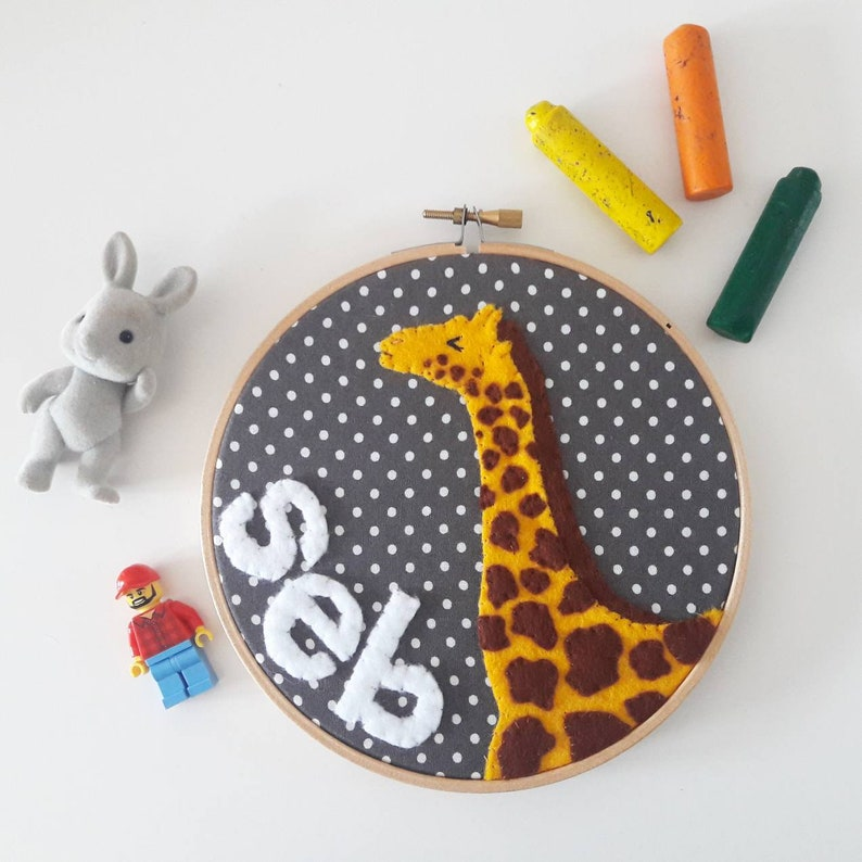 Personalised name giraffe embroidery hoop wall art  hand sewn image 0