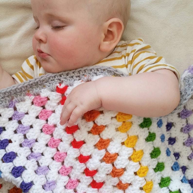 Rainbow heirloom crochet baby blanket  new baby gift  Granny image 0