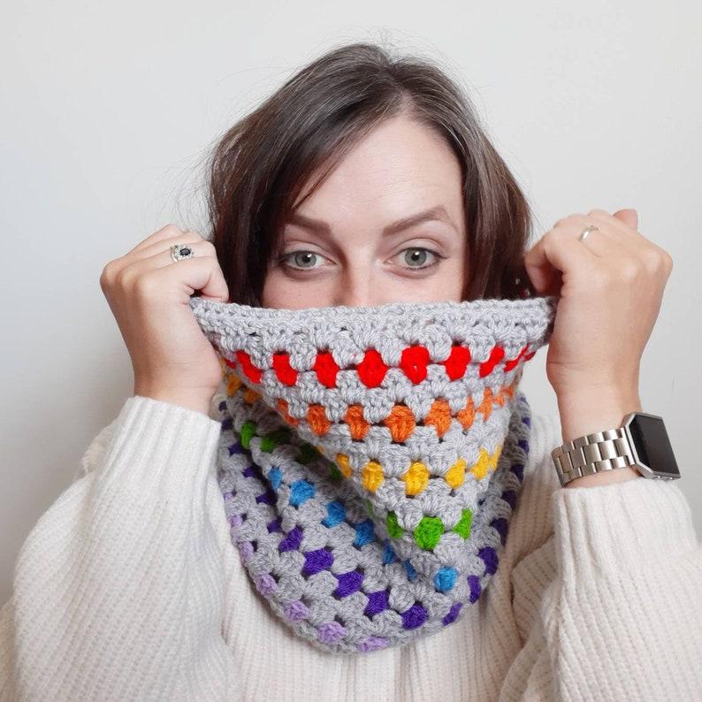 Rainbow Granny stripe Crochet Snood Scarf  Infinity cowl image 0