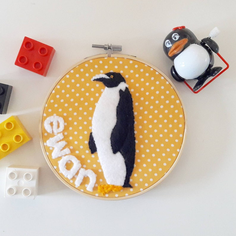 Personalised name penguin embroidery hoop wall art  hand image 0