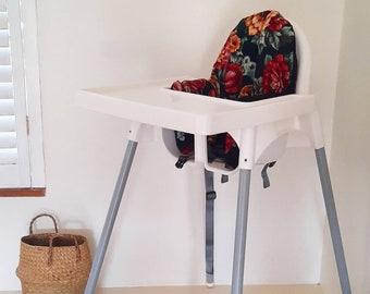 Ikea Antilop Highchair Cushion. Dark autumn floral. Maximalist decor. Red orange floral.