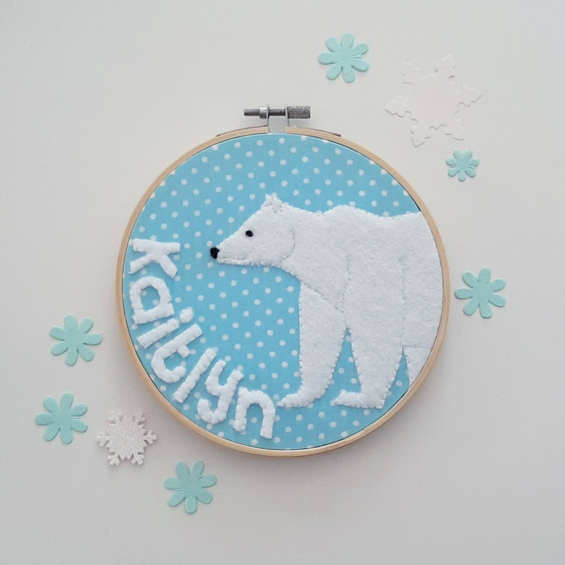 Personalised name polar bear embroidery hoop wall art  hand image 0