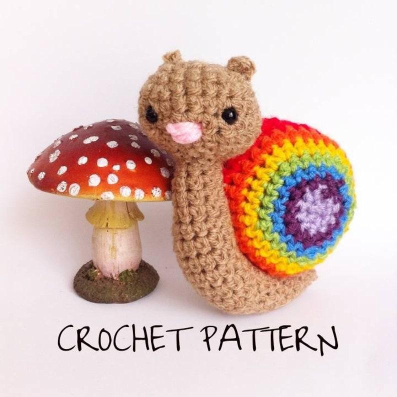 Rainbow crochet snail pattern  LGBT Snail. Decorative snail image 0