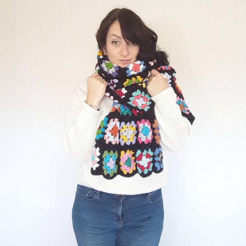 Granny Square Crochet Blanket Scarf  colourful crochet wrap  image 0